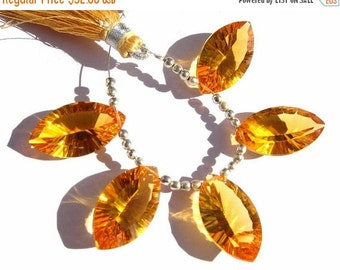 55% OFF SALE Set Of 5 Pieces -  Finest Quality AAA Citrine Quartz Concave Cut Marquise Briolettes Calibrated Size 20x12mm approx 2 Matched p