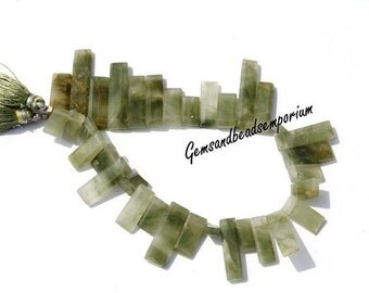 55% OFF SALE Full 9 Inches Moss Aquamarine Gemstone Faceted Chiclets Beads - Moss Aquamarine Rectangle beads Size 9x6 - 33x7 mm