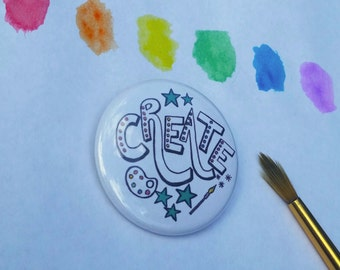 "CREATE 1.5"" Button: Bold, Hand-Drawn Design"