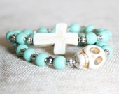 Turquoise and Cream 2 Bracelet Skull and Cross Beaded Stack