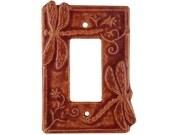 Dragonflies Ceramic Light Switch Cover- Single Rocker Decora in Terracotta Glaze