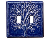 Tree Ceramic Double Toggle Light Switch Cover in Sapphire Blue Glaze
