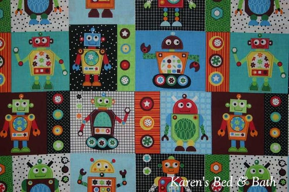 Robot fabric with robots by yard quarter yard fat quarter for Robot quilt fabric