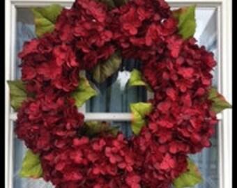 Winter Wreath Red Wreath Door Wreath Rustic Wreath Housewarming Gift Year Round Wreath Hydrangea Wreath Christmas Wreath Holiday Wreath