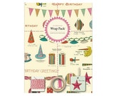 Cavallini & Co Vintage Style Celebrations Decorative Wrap Pack - Decorative Paper and Gift Tags, Twine, Washi Tape