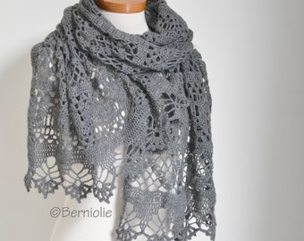 Lace knitted shawl, Grey, P461