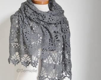 Lace crochet shawl, Grey, P461