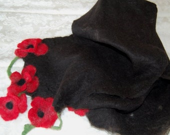Alpaca Cobweb Felted Scarf, Black with Red Flowers!