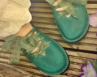 Womens leather shoes, CLARA, Handmade Vintage Inspired Shoes by Fairysteps in Teal, Mermaid, blue green