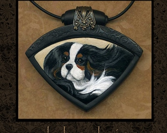Hand Painted Cavalier King Charles Spaniel necklace