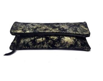 Black metalic suede fold clutch