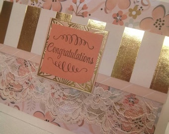 Congratulations! Greeting Card for Wedding Fairy Tale Vintage lace