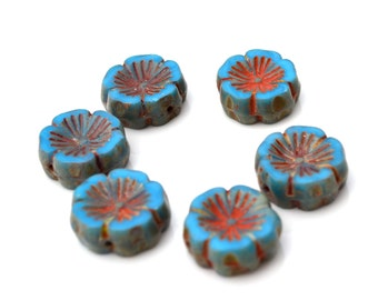 Medium Blue Hawaiian Flower Czech GLass Beads  6