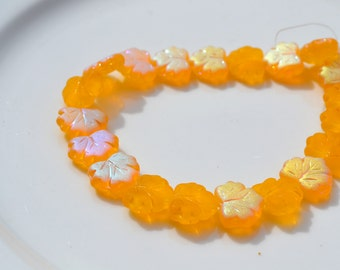 Marigold Yellow AB Matte Maple Leaf Beads  10