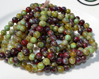 Picasso Round Mix 6mm Czech Glass Beads  25
