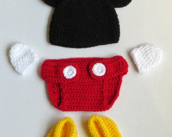 MIckey Mouse inspired Crochet Photo Prop Set