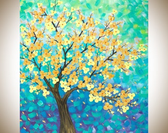 """Colorful Modern wall art Original yellow Flowers Tree acrylic Painting  Canvas art Wall art wall decor""""Spring Blossom II"""" by QIQIGALLERY"""