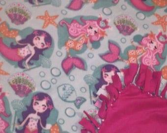Tied Fleece Blankets - No Sew Fleece Blankets - Mermaids