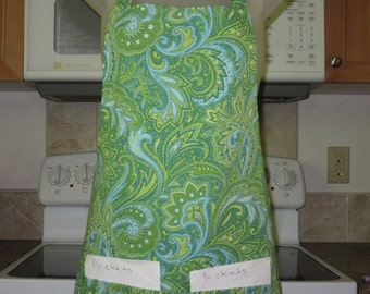 aprons for women - womens aprons - bright green paisley