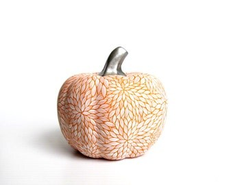 Painted Pumpkin Hand painted white and orange ceramic pumpkin