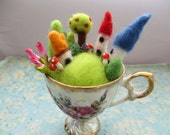 Felted teacup Fairy village