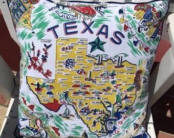 """Texas Pillow Cover, 18"""" Lone Star State Pillow Cover, Texas Souvenir, Texas Road Trip, Texas Home Decor, Retro Texas"""