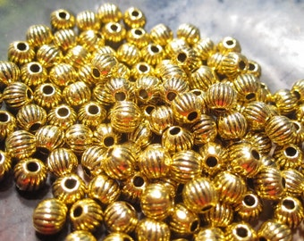30% Off 100 pcs Antique Gold Fluted Round Beads, 4mm with a 1mm hole, MB1063 F16