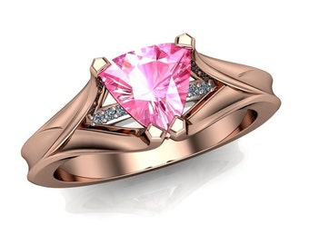 Pink Sapphire Ring, Geometric Trillion in Rose Gold with Diamond Accents