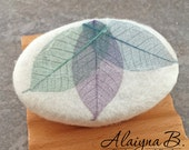 Felted Goat Milk Soap with Dyed Skeleton Leaves - Green Tea and Blackberry Sage Scented