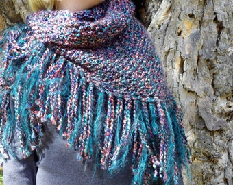 HANDKNIT SHAWL Triangle Knit Fringed Prayer  Wrap