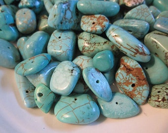 Turquoise Beads, Howlite Turquoise, Blue Turquoise Chip Nugget, Center Drilled, Various Shapes Sizes, approx 8-18mm - QTY 48 - tq476