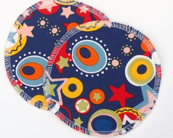"""Large Reusable Nursing Pad Set in Bamboo/Organic Cotton with hidden PUL - quilter's cotton top - """"Rodeo"""""""