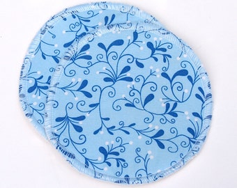 """Large Reusable Nursing Pad Set in Bamboo/Organic Cotton with hidden PUL - quilter's cotton top - """"Blue Vines"""""""