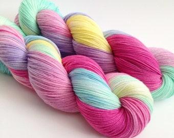 Hand Dyed Yarn - Candy Hearts - Merino Nylon Sock Yarn Fingering - Ready to Ship - Vivid Yarn Studio