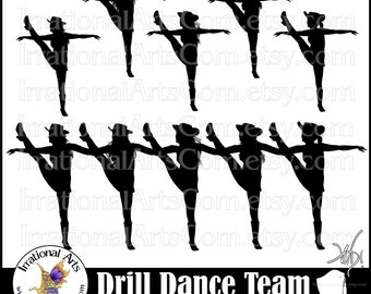 Drill Dance Team KICK LINE Silhouettes set 3 - 6 png digital graphics [Instant Download]