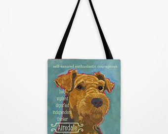 Airedale canvas tote bag, airedale beach bag, airedale fashion handbag, dog art canvas tote, dog art grocery bag, heavy canvas tote