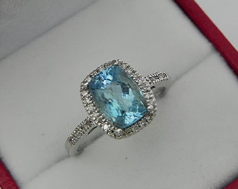 AAAA Santa Maria Blue Aquamarine Cushion cut   9x6mm  2.16 Carats   14K white gold Halo Engagement Ring set with .25 carats of diamonds 0734