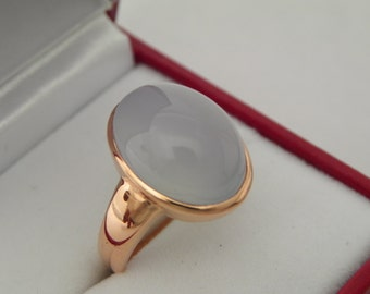 AAAA Blue Chalcedony   16x12mm  10.16 Carats   in 14K Rose gold ring, also available in White gold 0713