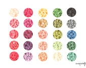50pc SAMPLER ruffled rose resin cabochon set / 25 assorted pairs resin flower cabs / flatback flower cab embellishments / 11mm small cabs