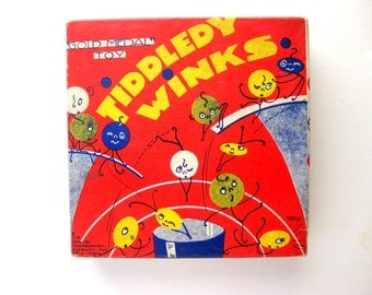 Gorgeous Vintage Tiddledy Winks by Transogram, Great Graphics, Great Condition