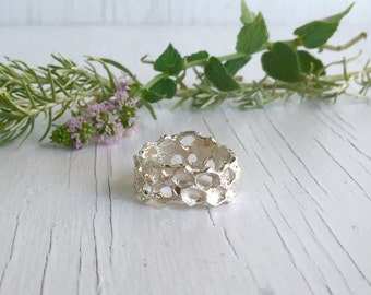 Sterling Silver Honeycomb Ring Wedding Band, Beehive Ring