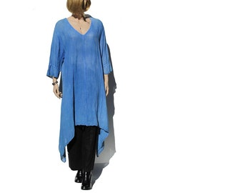 Thistle Blue Linen dress / Oversized tunic midi Dress