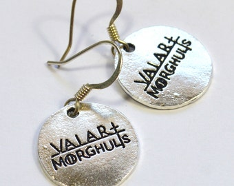"Game of Thrones Valar Morghulis ""All Men Must Die"" Dangle Earrings"