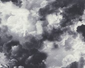 DARK CLOUDS Wicked Eve Grey Printed Cotton Quilt Fabric by the Yard, Half Yard, or Fat Quarter Fq Halloween Spooky Storm Cloud