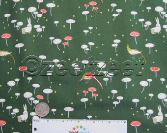 Sale LIZZY HOUSE Mushroom & Bunny GREEN Andover Fabrics Cotton Quilt Fabric by the Yard, Half Yard, or Fat Quarter Fq The Lovely Hunt Meadow