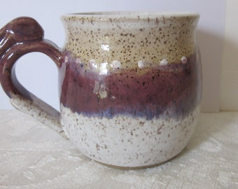 Plum and White Bunny Handle Pottery Mug