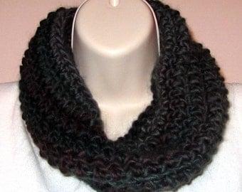 Soft Chunky Cowl -- Storm Clouds - Crocheted with Merino Wool/Nylon Yarn -- SOFT!  (SC006)