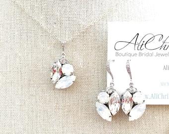 Wedding Jewelry Set , Swarovski Rhinestone , bridal jewelry set , pendant necklace and earrings , swarovski jewelry set jewellery white opal