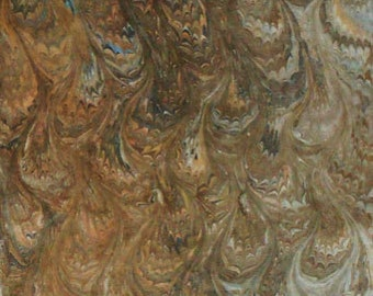 Hand-Marbled Silver Taffeta Fabric