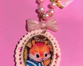 Vintage Squirrel Bear Pastel Pink Cameo Setting Bow Pearl Beads And Ribbon Necklace